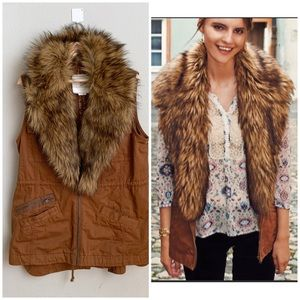 Anthropologie HEI HEI cognac faux fur trim vest